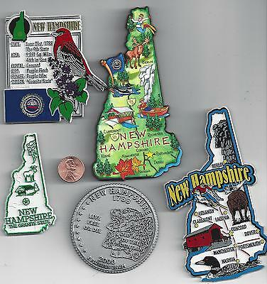 New Hampshire Magnet Assortment 5 New State Souvenirs With Artwood Jumbo Magnet