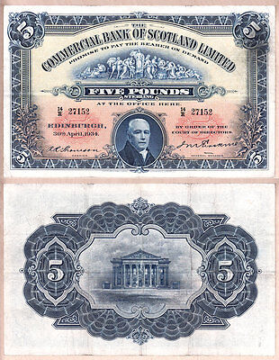 1934 £5 Commercial Bank of Scotland issued note; Very Fine