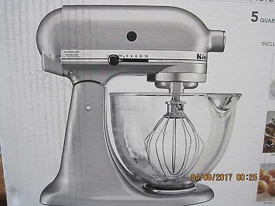 KitchenAid 5 Qt Stand Mixer w/ Glass Bowl & Flex Edge Beater - Metallic Chrome
