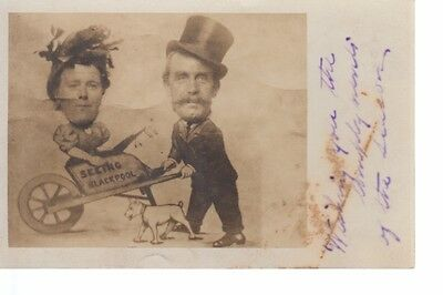 NBP267 Seeing Blackpool Electic Studio Novelty 1910s Real Photo Postcard