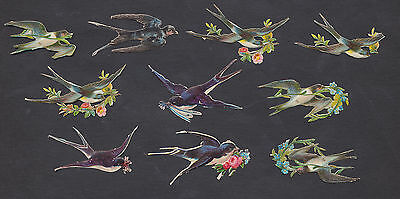 S5011 Victorian Die Cut Scraps: 10 Swallows in Flight