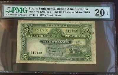 Rare Straits Settlements George V 1929 $5 Five Dollars PMG 20 Net