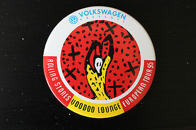 Rolling Stones  - LARGE  Button - VW Tour 1995 - Voodoo Lounge - Rare !