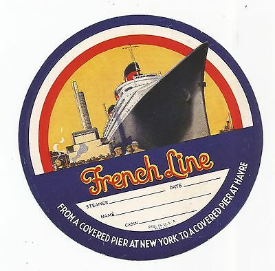 FRENCH LINE DECO MARITIME luggage label