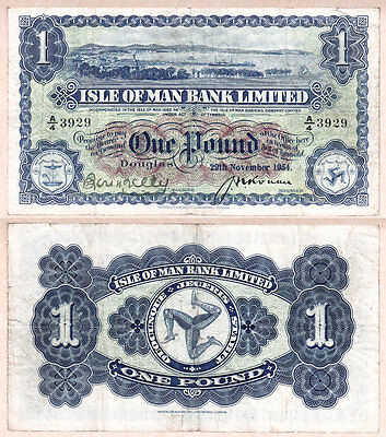 1954 One Pound Isle of Man Bank Limited, F/VF