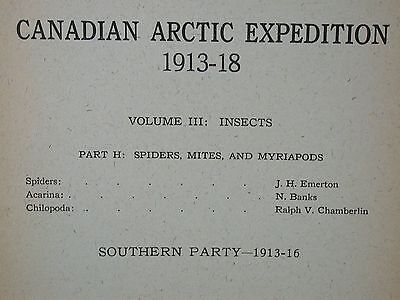 Canadian Arctic Expedition 1913-18 Vol III Insects 1919 Spiders Mites Report