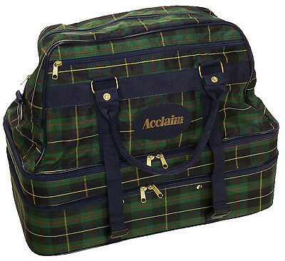 ACCLAIM Triple Decker 4 Bowls Bowling Bag Tartan Green Navy Marked Design EF
