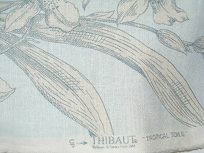 Thibaut TROPICAL TOILE Vintage fabric by the yard color pale blue