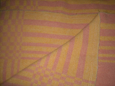 """Vintage Large Tag Remove Checker Reversible Ivory/pink Pure Wool Blanket 62""""x84"""""""