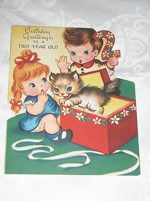 03- Birthday 2 Years 1940's Vintage Greeting Card Cat in a box