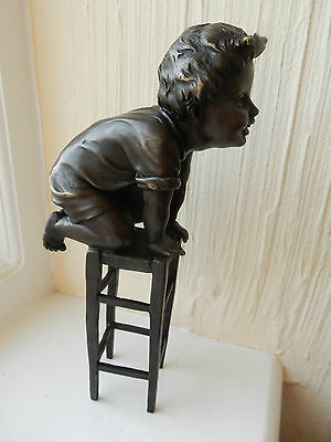 French Bronze Sculpture Depicting Little Child on Stool Signed Depose