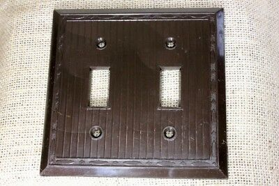 DOUBLE Switch Plate brown vintage plastic NEW OLD STOCK NOS 1940's RELIANCE USA!