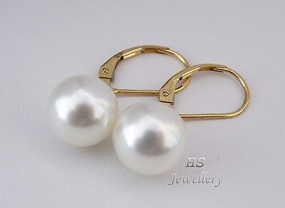 HS Round 10mm South Sea Cultured Pearl Hoop Earrings 14K Yellow Gold Top Grading