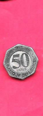 Lebanon Km37 1996 Unc-Uncirculated Mint Old 50 Livres Coin