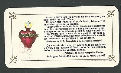Estampa antigua Sagrado Corazon de Jesus andachtsbild santino holy card