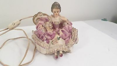 Antique Porcelain Victorian Woman on Fainting Couch Tabletop Nighlight