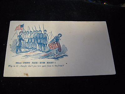 Front Face! Eyes Right! Bawdy CIVIL WAR Envelope Unused Wells Fulton St NY