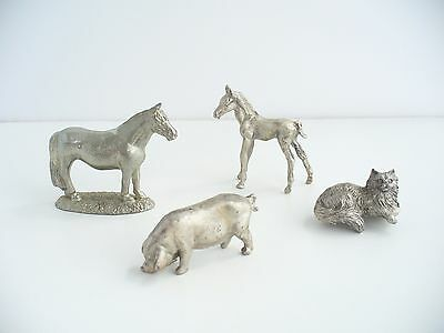 Vintage Lot Of Four Pewter Animals, one stamped Merlin