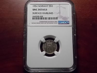 1952 Norway 25 Ore coin NGC UNC