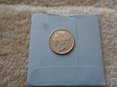 1886 Straits Settlements 10 Cents Silver coin Nice details