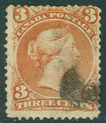 1868 Canada 3 Cent Large Queen - Used - Uni# 25i Orange Red