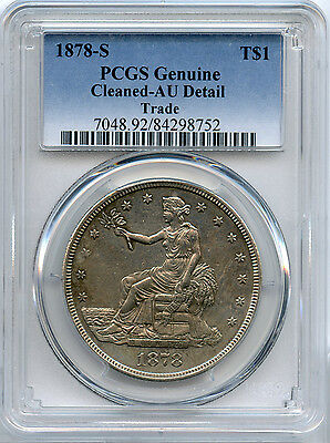 1878-S $1 Trade Dollar PCGS AU Details - Cleaned
