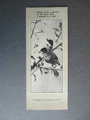 Vintage BOOKMARK Better to be a Sparrow in a Wood than a Peacock in a Cage BIRD