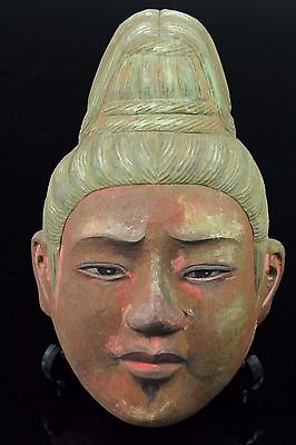 Japanese Vintage Wood Carving Buddha Statue Mask Okimono Jun146