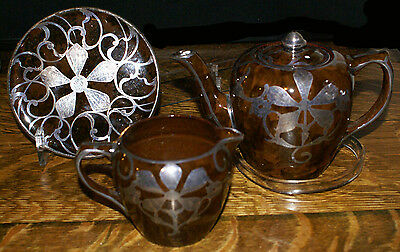 THREE Pieces of Sterling Silver Overlay from 1900 * Teapot Creamer Plate Lenox