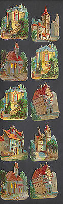 S5107 Victorian Die Cut Scraps: 10 Buildings