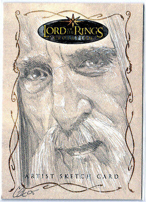 LORD OF THE RINGS LOTR EVOLUTON SKETCH CARD - SARUMAN by CAT STAGGS