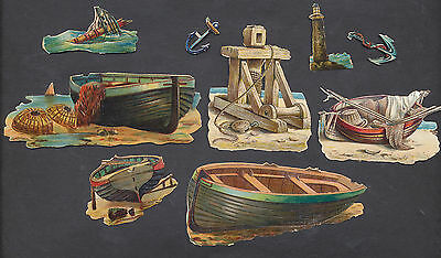 S5114 Victorian Die Cut Scraps: 9 Maritime Objects