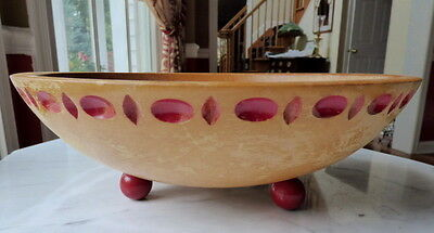 Vintage MUNISING Wooden Dough Bowl Footed Red Carved Accents Red Feet Primitive