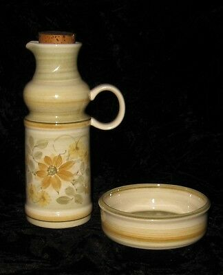 Retro Jersey Studio Art Pottery Yellow, Cream & Green Floral Vinegar Jug & Dish