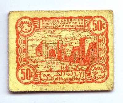 1944 Morocco small cardboard 50c Note (WWII?)