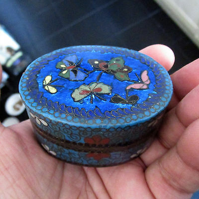 Beautiful Antique Japanese Cloisonne Pill / Trinket Box Moths or Butterflies ?