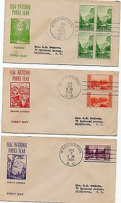 USA - FDC - Sc 740 - 749 -   National Parks 1934 - Set of 10 Casheted Covers