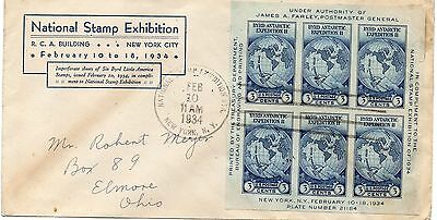 USA - FDC - Sc 735 - Min Sheet - National Stamp Exhibition - 1934