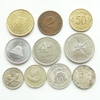 Job Lot of 10 World Coins from 1915 : Different Countries * 2 Silver * (10)