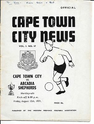 CAPE TOWN CITY v ARCADIA SHEPHERDS 13 AUGUST 1971 SOUTH AFRICA CASTLE CUP Q/FINA