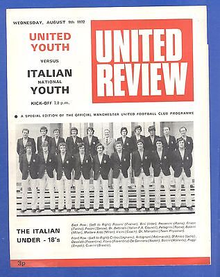 Manchester United Youth v Italian Youth 1972 MATCH PROGRAMME