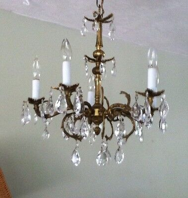 Crystal Brass Chandelier Antique Marked Made In Spain