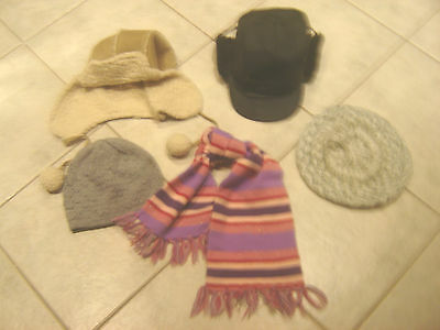 Job Lot Of  4 Different Hats & Scarf 2 Trapper Style  I Beanie I Beret