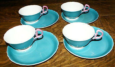 4 Unusual Aysley Bone China Teal and Hot Pink Handled Cup and Snack Plates