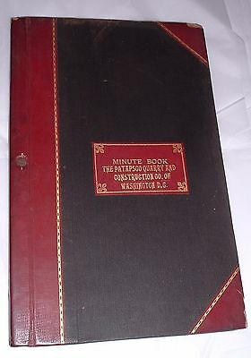 Antique 1904 ledger Patapsco Quarry & Construction company Washington DC Unused