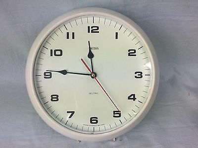 Vintage Smiths Sectric White Bakelite Wall Clock Gwo