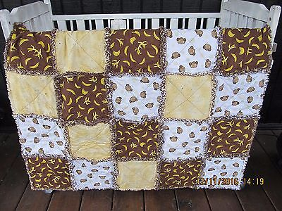 "Monkey Faces Bananas Confetti Baby Toddler Raggedy Rag Quilt Blanket 38"" x 46"""