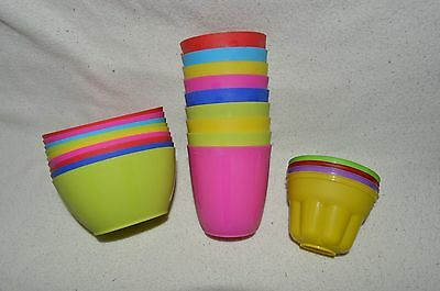 Bundle of Plastic Bowls and Cups - 9 of Each + 4 Jelly Molds