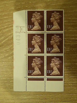 X945  13.5p  HARRISON  PRINT PCP  IN CYL BLK OF 6     1 DOT UNM