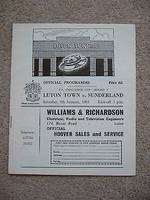 LUTON TOWN v SUNDERLAND FA CUP 3RD ROUND 1965 PROGRAMME